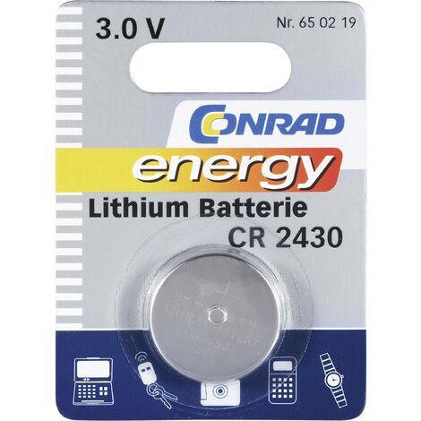 Pile bouton CR 2430 lithium Conrad energy 270 mAh 3 V 1 pc(s) X37590