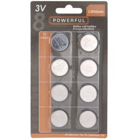 Pile bouton CR2025 lithium, 3v les 8pièces