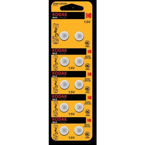 Pile bouton Kodak MAX Lithium G10 / LR54 / 189 / AG10-1x Blister