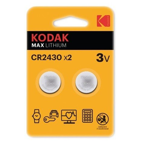 Pile bouton Max Lithium Kodak - CR2430 - Vendu par 2 - Gris