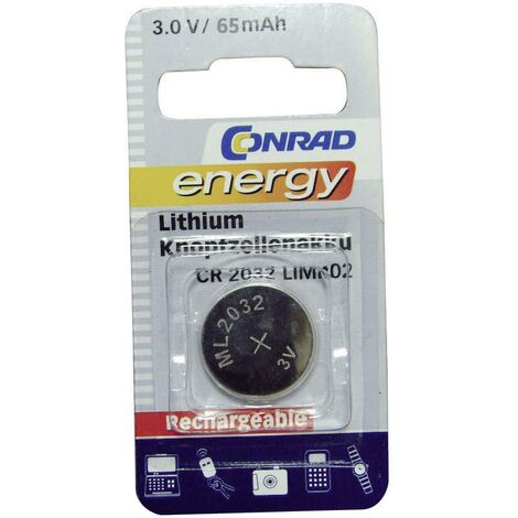 Pile bouton rechargeable lithium 3 V Conrad energy CR2032 65 mAh 1 pc(s) A35526
