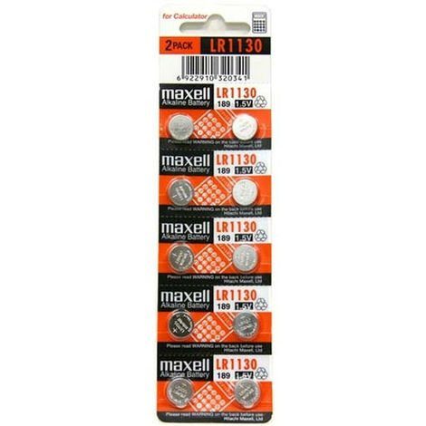 Pile Lr1130 Maxell Bouton alcalin Ag10, Lr54 ,189, Lf1131f (prix 10 piles) Lr1130