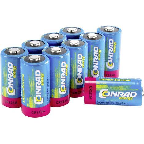 Pile photo CR-123A lithium Conrad energy CR123 1400 mAh 3 V 10 pc(s)