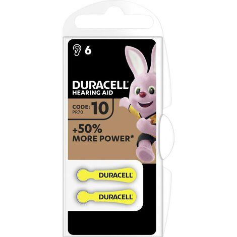 Pile pour appareil auditif zinc-air ZA 10 Duracell 10AC 90 mAh 1.45 V 6 pc(s)