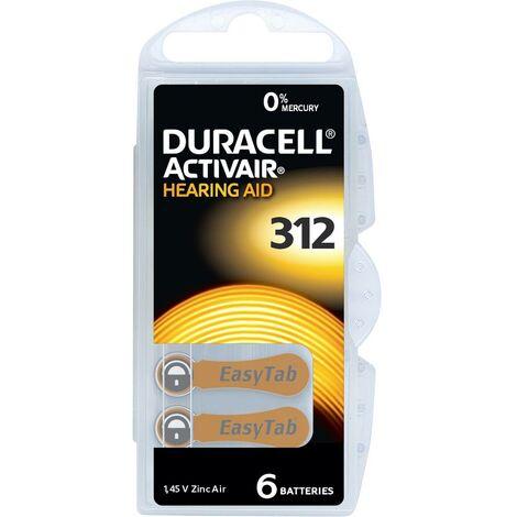 Pile pour appareil auditif zinc-air ZA 312 Duracell Activair 312 160 mAh 1.45 V 6 pc(s)