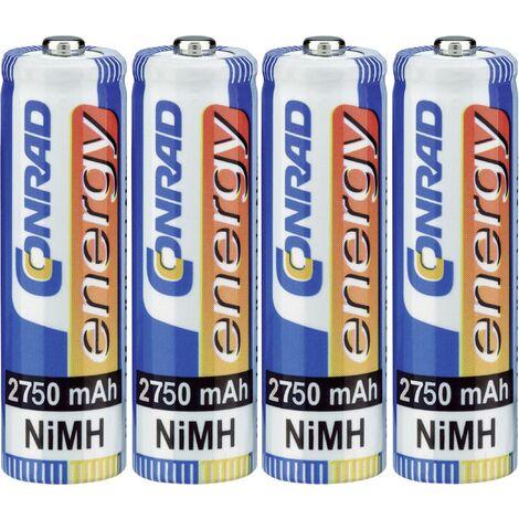 Pile rechargeable LR6 (AA) NiMH Conrad energy HR06 2750 mAh 1.2 V 4 pc(s) Y448381