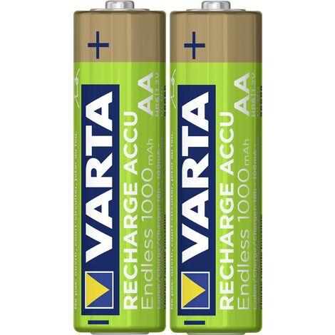 Pile rechargeable LR6 (AA) NiMH Varta Endless Ready to Use 5.6666101402E10 1000 mAh 1.2 V 2 pc(s) X013151