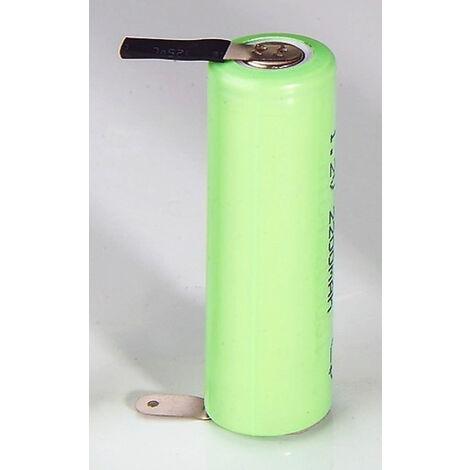 Pile rechargeable NiMH 2/3 Mignon (AA) - 750mAh - cosse à souder en Z - enveloppe plastique