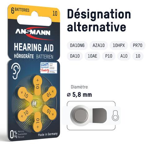 Piles pour appareil auditif ANSMANN type 10 jaune lot de 120 - 10 P10 PR70