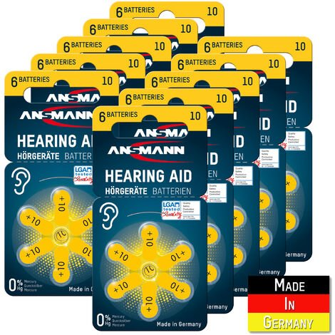 Piles pour appareil auditif ANSMANN type 10 jaune lot de 60 - 10 P10 PR70