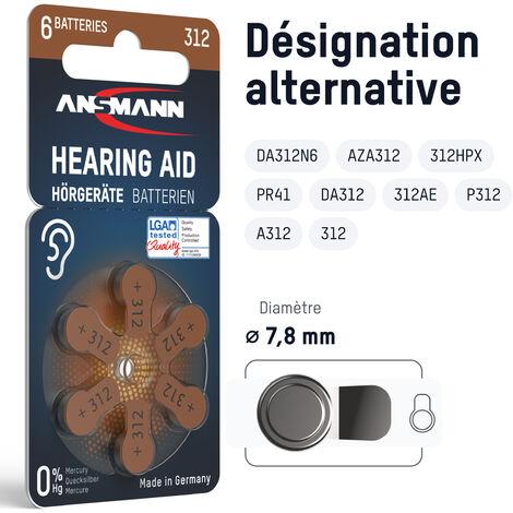 Piles pour appareil auditif ANSMANN type 312 marron lot de 60 - P312 ZL3 PR41
