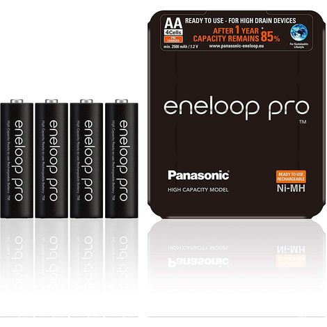 Piles Rechargeables Panasonic eneloop PRO Lot de 4 piles AA-LR6 prêtes à utiliser