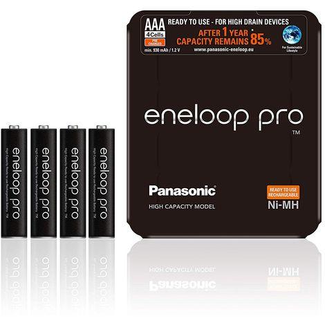 Piles Rechargeables Panasonic eneloop PRO Lot de 4 piles AAA-LR3 prêtes à utiliser