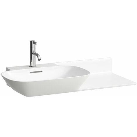 Pileta de servicio INO Wash, 1 agujero para grifo, con rebosadero, balda de cerámica a la derecha, 900x450, blanco, color: Blanco - H8133020001041