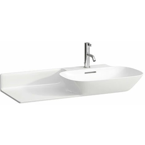 Pileta de servicio INO Wash, 1 agujero para grifo, con rebosadero, balda de cerámica a la izquierda, 900x450, blanco, color: Blanco con LCC - H8133014001041