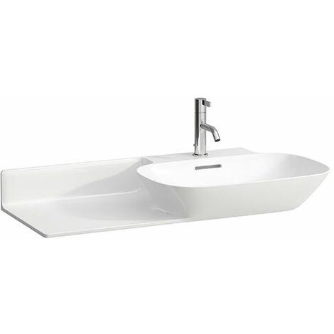 Pileta de servicio INO Wash, 1 agujero para grifo, con rebosadero, balda de cerámica a la izquierda, 900x450, blanco, color: Blanco - H8133010001041