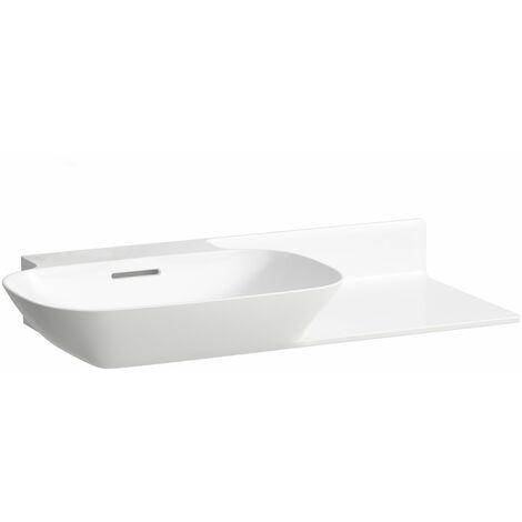 Pileta de servicio INO Wash, sin agujero para grifo, con rebosadero, balda de cerámica a la derecha, 900x450, blanca, color: Blanco - H8133020001091
