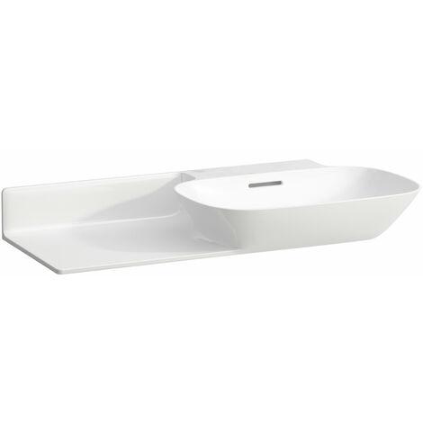 Pileta de servicio INO Wash, sin agujero para grifo, con rebosadero, balda de cerámica a la izquierda, 900x450, blanca, color: Blanco - H8133010001091