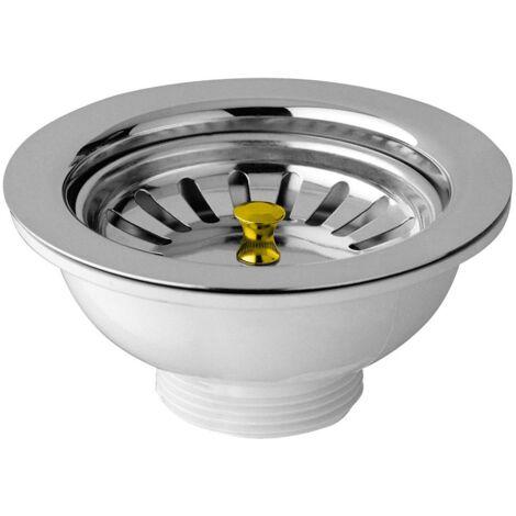 Mastice Per Lavello Cucina.Piletta Basket Per Lavello Cucina Foro Mm 90 Scarico 1 1 2 Con Tappo A Cestello
