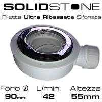Piletta in pvc per piatto doccia basso (foro da 90 mm) - Con griglia in acciaio inox 13x13