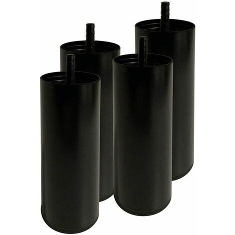 PILLAR - Jeu de 4 Pieds Métalliques Noir 15cm pour Sommier Tapissier