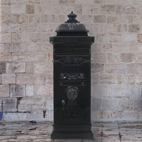 Pillar Letterbox Aluminium Vintage Style Rustproof Black