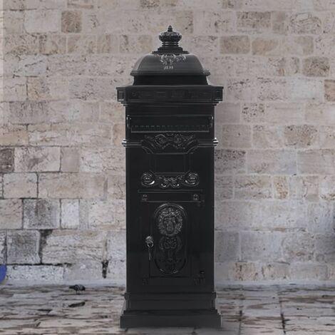 Pillar Letterbox Aluminium Vintage Style Rustproof Black - Black