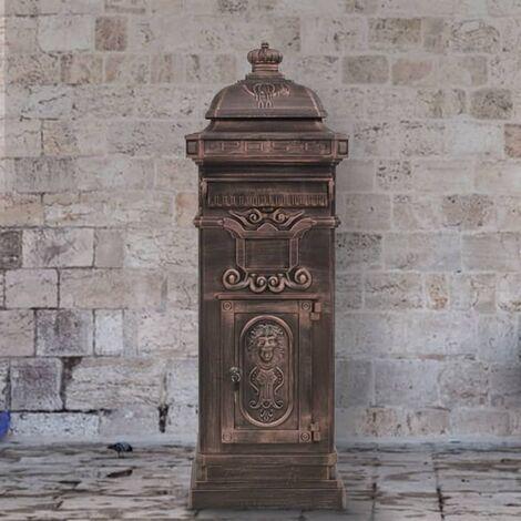 Pillar Letterbox Aluminium Vintage Style Rustproof Bronze - Brown