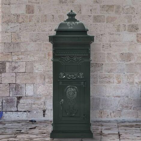 Pillar Letterbox Aluminium Vintage Style Rustproof Green
