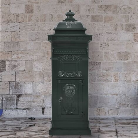 Pillar Letterbox Aluminium Vintage Style Rustproof Green - Green