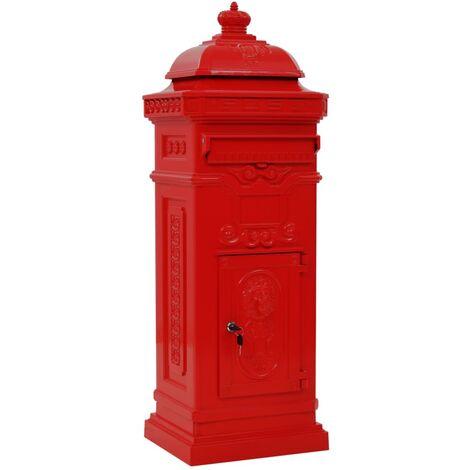 Pillar Letterbox Aluminium Vintage Style Rustproof Red