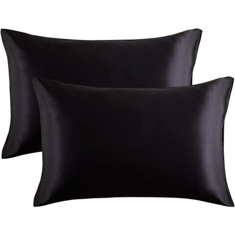 Pillowcase pillowcase pillowcase satin pillowcase silk pillow imitation pillowcase pure bedding pillowcase, 2 (51 * 76cm) black