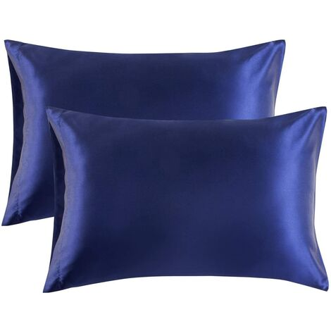 Pillowcase pillowcase pillowcase satin pillowcase silk pillowcase simulation pure pillowcase purebredding pillowcase, 2 (51 * 76cm) navy blue