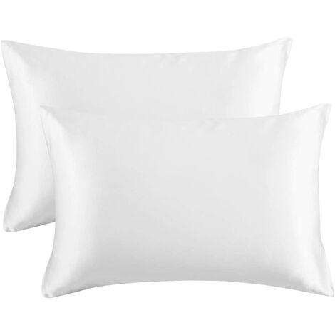 Pillowcase pillowcase pillowcase silk pillowcase silk pillowcase imitation pillowcase pure pillowcase bedding, 2 (51 * 76cm) pure white