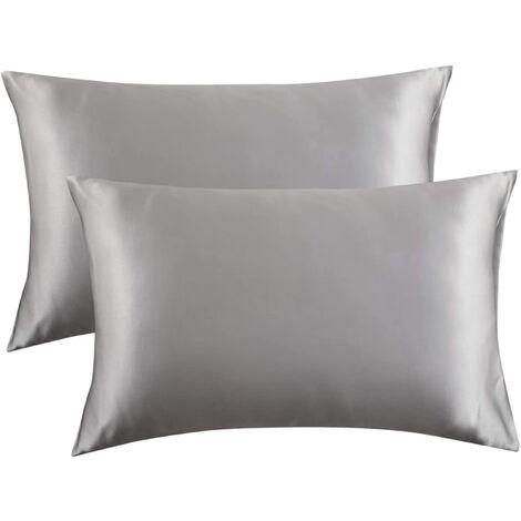 """main image of """"Pillowcase pillowcase pillowcase silk pillowcase silk pillowcase pure pillowcase with bedding pillow, 2pcs (51 * 76cm) gray silver"""""""