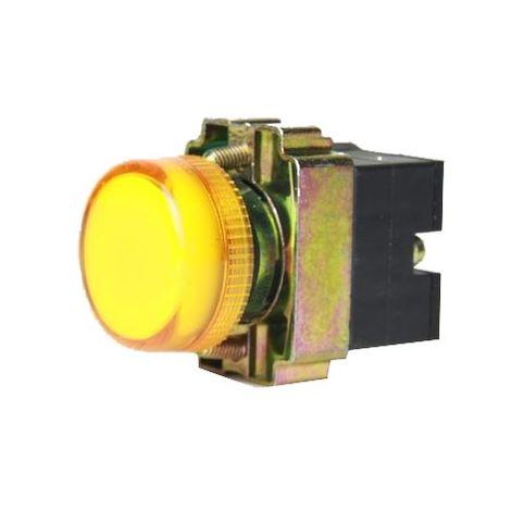 Piloto luminoso metálico color amarillo 22mm