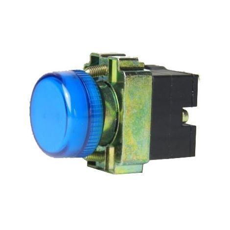 Piloto luminoso metálico color azul 22mm