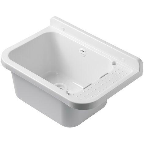 Pilozzo Lavatoio da Esterno in Resina 50 x 34 Bianco con Portasapone