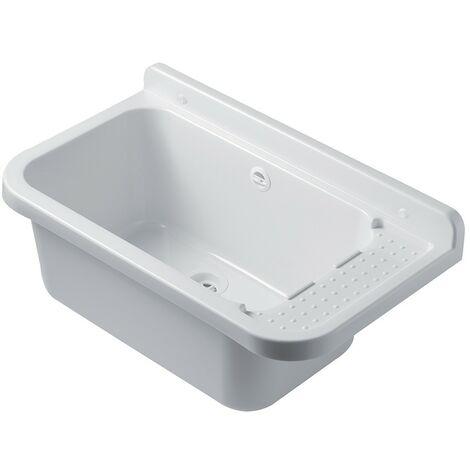 Pilozzo Lavatoio Da Esterno In Resina 60 X 34 Bianco Con Portasapone
