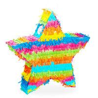 Piñata Estrella sin Relleno con Palo y Antifaz, Papel, Multicolor, 43,5 x 45,5 x 9 cm