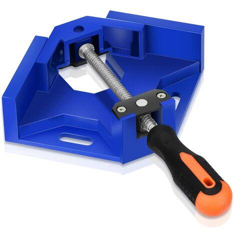 Pince à Angle Droit à 90°, Pince à Angle de 90 Degrés en Alliage d'aluminium avec Mâchoire Oscillante pour Menuisier Soudage & Travail du Bois, Right Angle Corner Clamp - Bleu