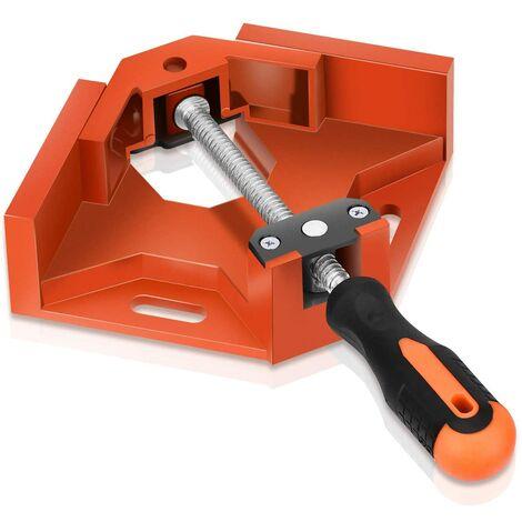 Pince à Angle Droit à 90°, Pince à Angle de 90 Degrés en Alliage d'aluminium avec Mâchoire Oscillante pour Menuisier Soudage & Travail du Bois, Right Angle Corner Clamp - Orange