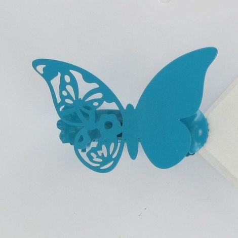 Pince à rideaux (x2) Métal Mariposas Papillons bleu turquoise