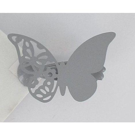 Pince à rideaux (x2) Métal Mariposas Papillons Gris