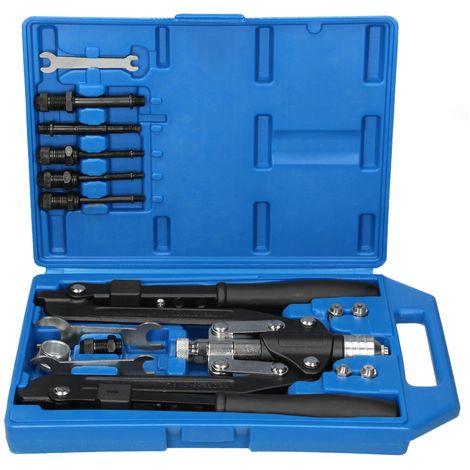 Pince à riveter pliante 14 pcs écrous à sertir 3,2-6,4mm mandrins M4-M10 coffret