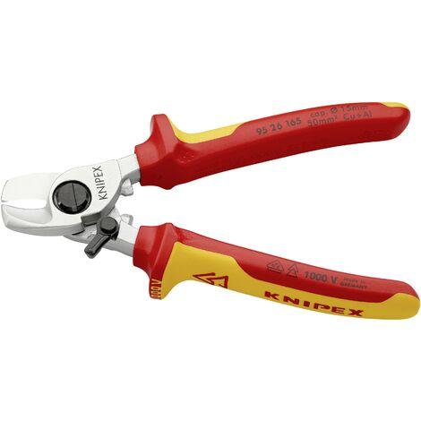 Pince coupe-câbles VDE Knipex 95 16 165 Adapté pour (technique d'isolation) câbles en alu et en cuivre, à 1 ou plusieurs fils 15 mm 50 mm² 0 1 pc C91885