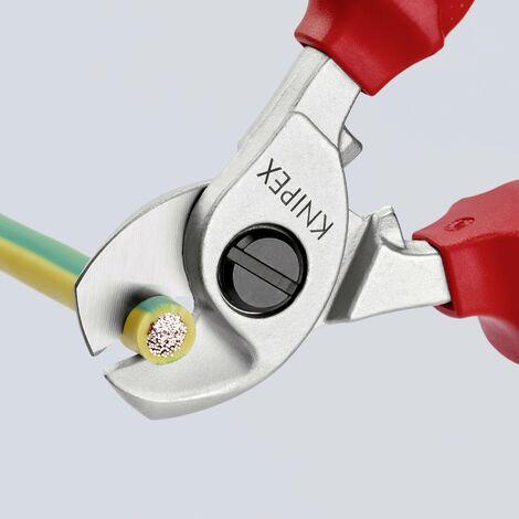 Pince coupe-câbles VDE Knipex 95 16 165 SB Adapté pour (technique d'isolation) câbles en alu et en cuivre, à 1 ou plusieurs fils 15 mm 50 mm² 1 1 C92737