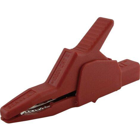 Pince crocodile de sécurité SKS Hirschmann AK 2 B 2540 I enfichable 4 mm CAT II 1000 V rouge