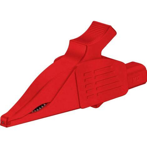 Pince crocodile de sécurité Stäubli XDK-1033 RT enfichable 4 mm CAT II 1000 V rouge