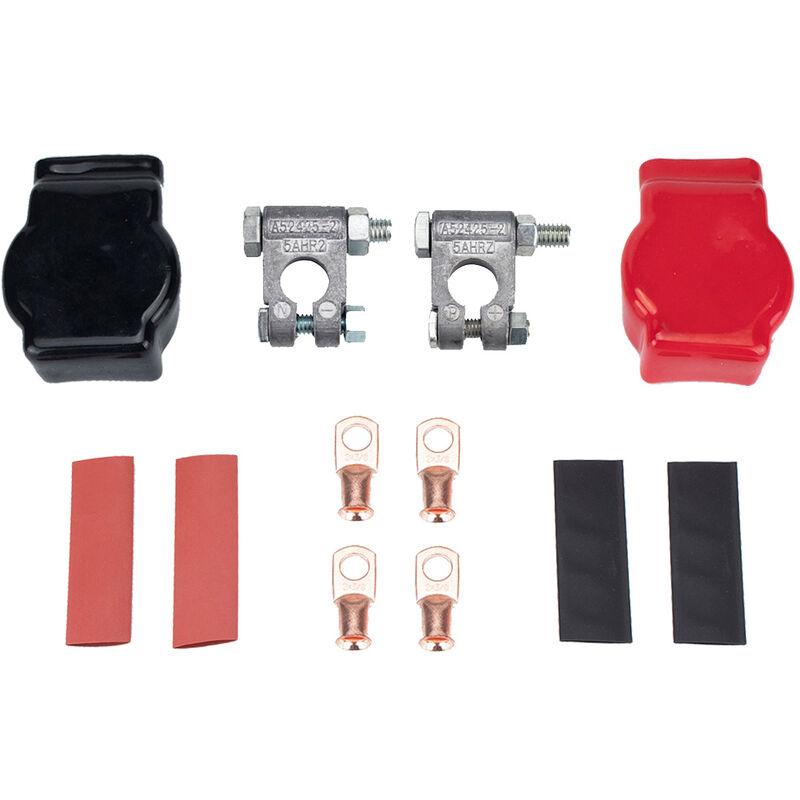 Dontodent - Pince de batterie de voiture, jeu de câblage de prise de batterie, avec borne en cuivre, gaine de mandrin, tube thermorétractable